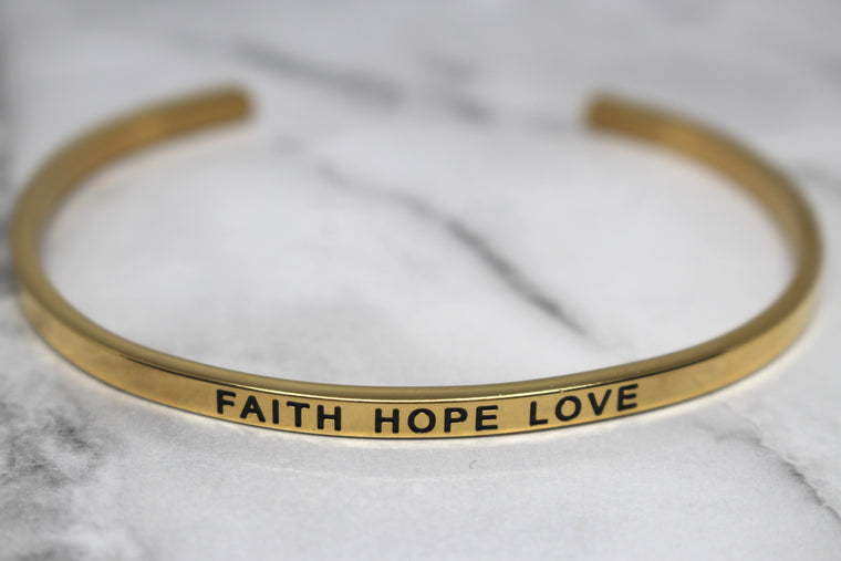 FAITH HOPE LOVE* Cuff Bracelet- Gold