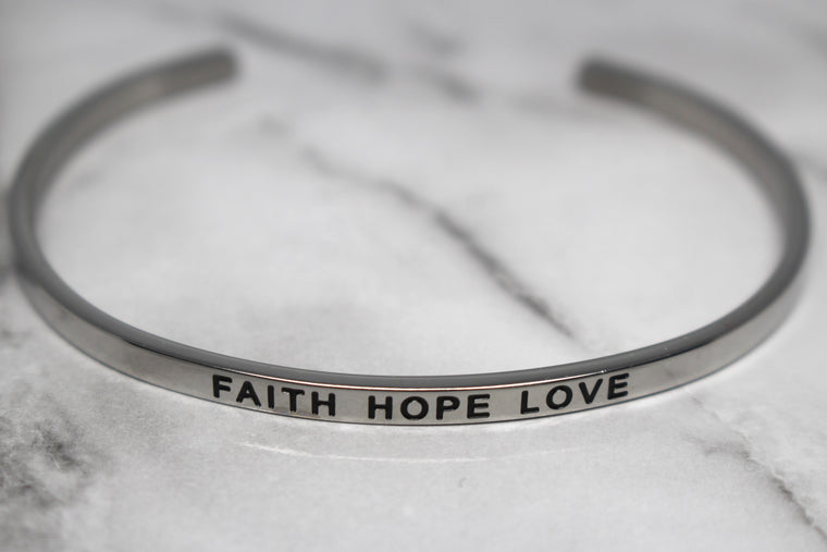 FAITH HOPE LOVE* Cuff Bracelet- Silver