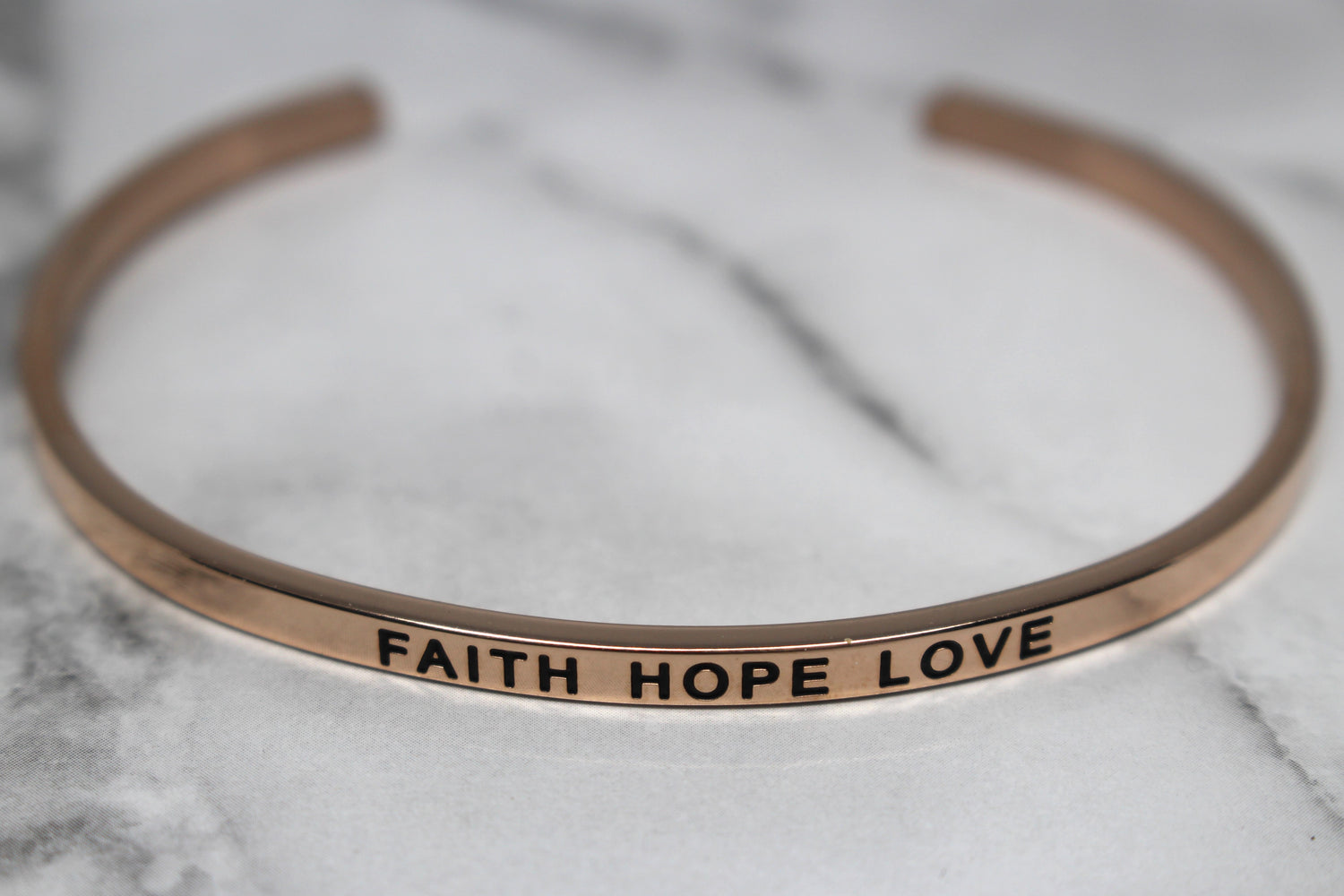 FAITH HOPE LOVE* Cuff Bracelet- Rose Gold