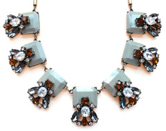 Gray Crystal Leaves Statement Necklace