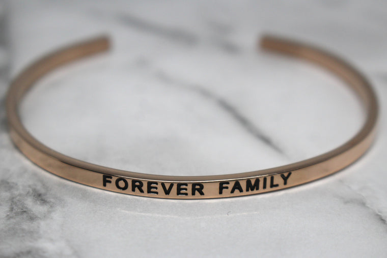 FOREVER FAMILY* Cuff Bracelet- Rose Gold