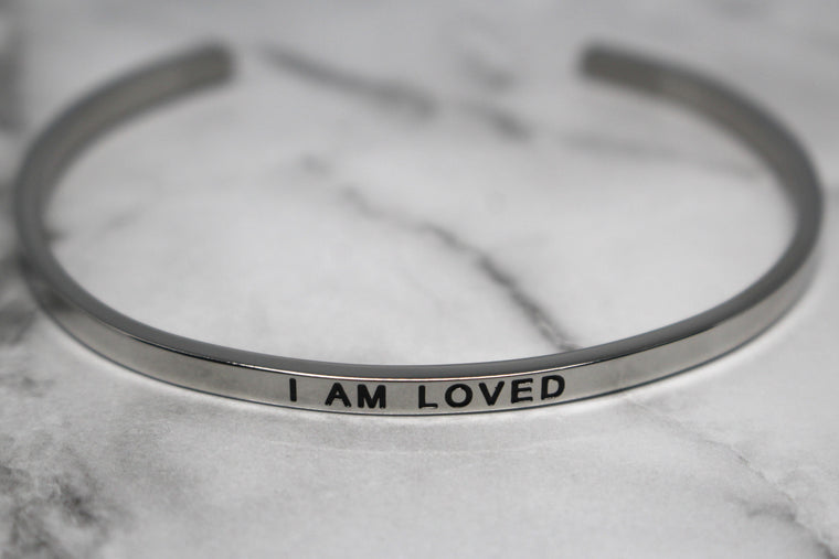 I AM LOVED* Cuff Bracelet- Silver