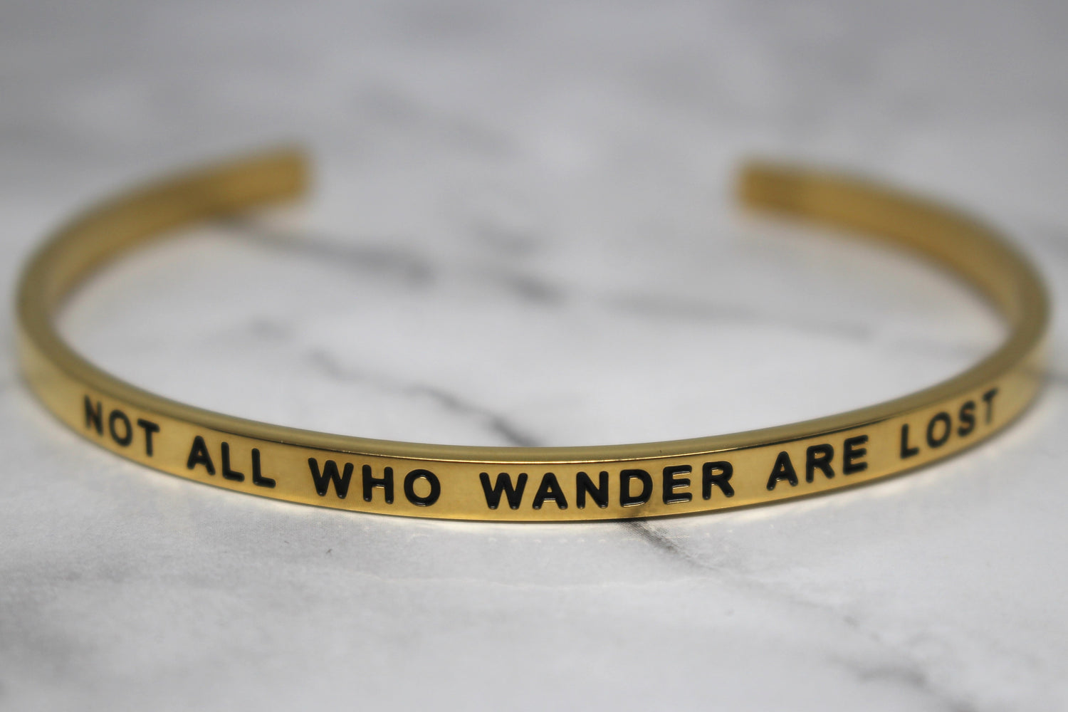 NOT ALL WHO WANDER ARE LOST* Cuff Bracelet- Gold