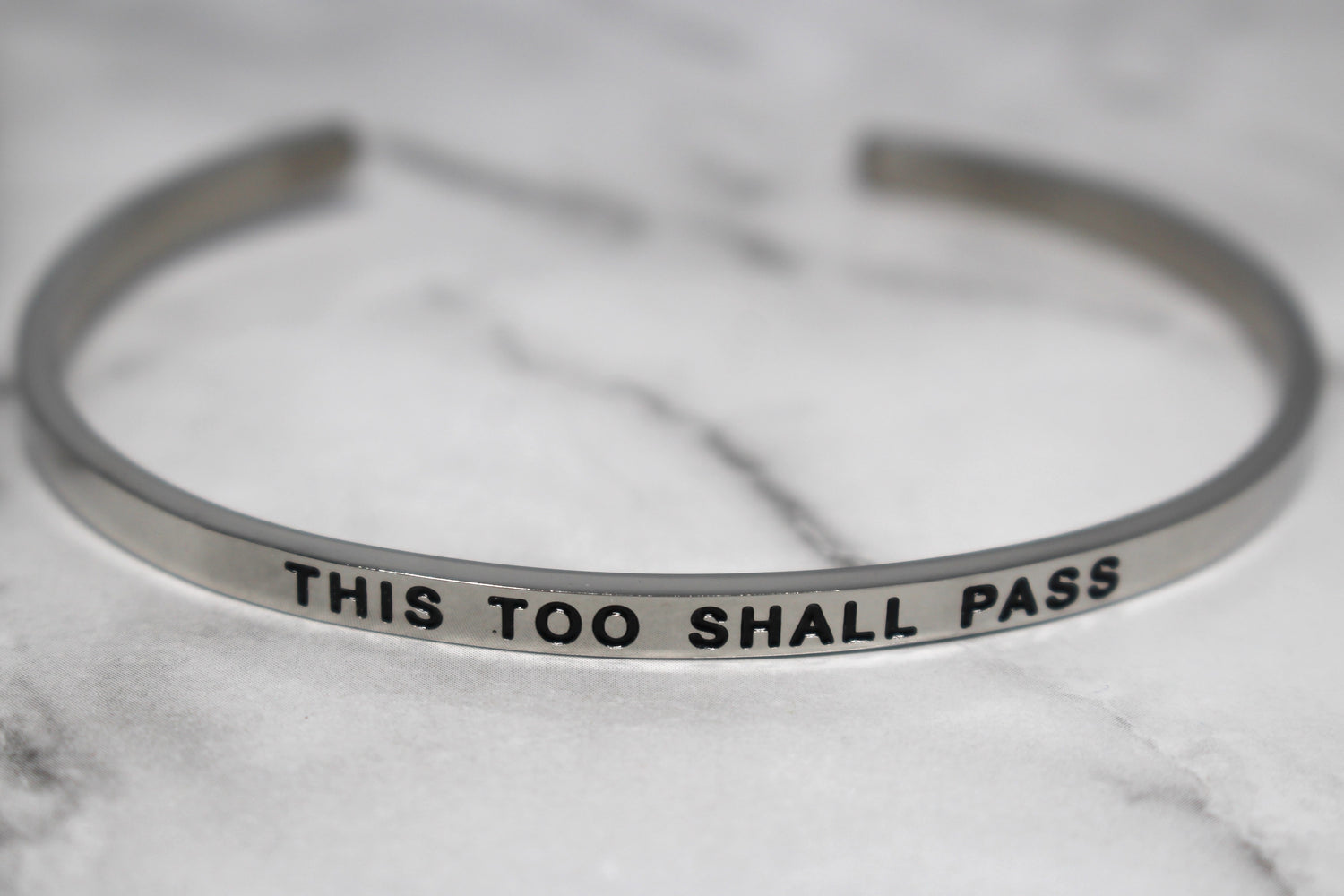 THIS TOO SHALL PASS* Cuff Bracelet- Silver
