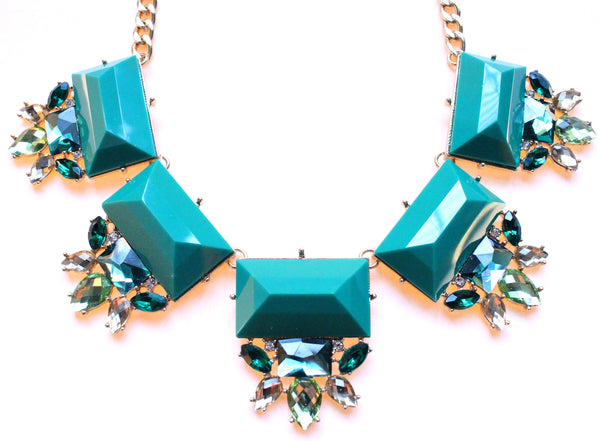 Colorful Jeweled Gemstone Statement Necklace- Green