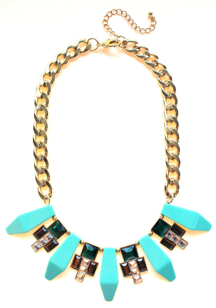 Tribal Geometric Jeweled Statement Necklace- Mint