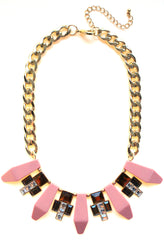 Tribal Geometric Jeweled Statement Necklace- Peach Coral