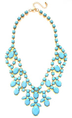 Bold Rhinestone Statement Necklace- Mint