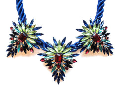 Three Pendant Rope Statement Necklace- Blue