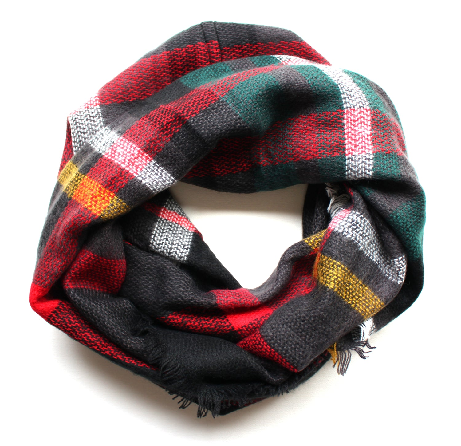 Mad For Plaid Infinity Scarf- Black Multi