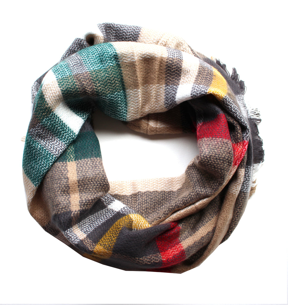 Mad For Plaid Infinity Scarf- Taupe Multi