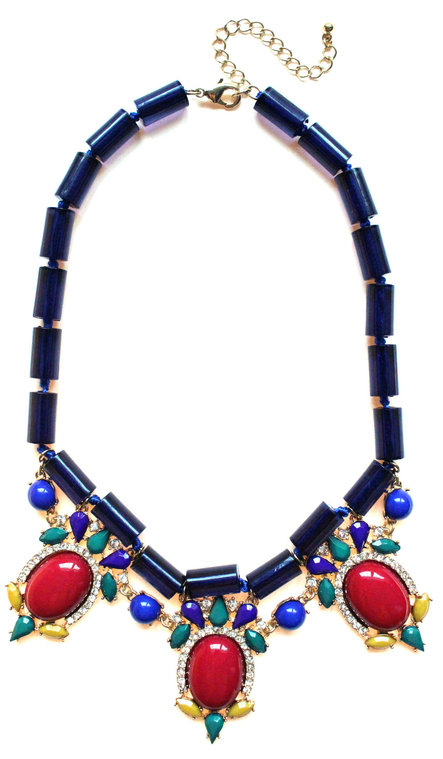 Colorful Beaded & Jeweled Statement Necklace- Navy & Red