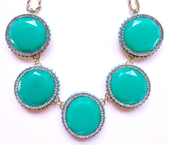 Bold Oval Gem Statement Necklace- Green