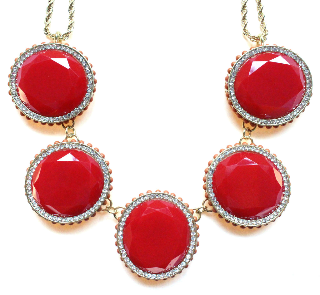 Bold Oval Gem Statement Necklace- Red