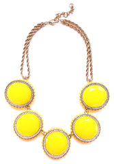 Bold Oval Gem Statement Necklace- Yellow