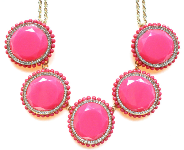 Bold Oval Gem Statement Necklace- Pink
