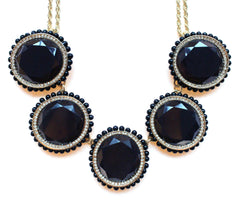 Bold Oval Gem Statement Necklace- Black