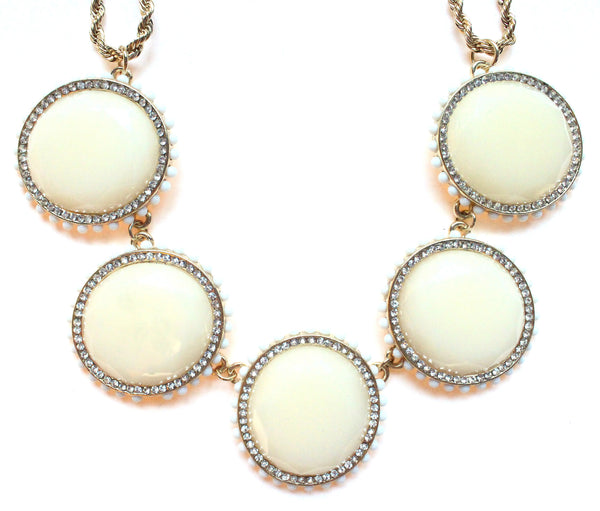 Bold Oval Gem Statement Necklace- Ivory