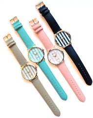 Leather Striped Trendy Watches- 2 Color Options