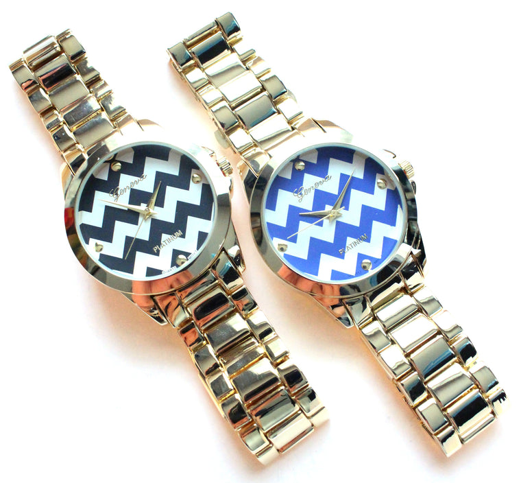 Metal Chevron Geneva Platinum Watch- 2 Color Options