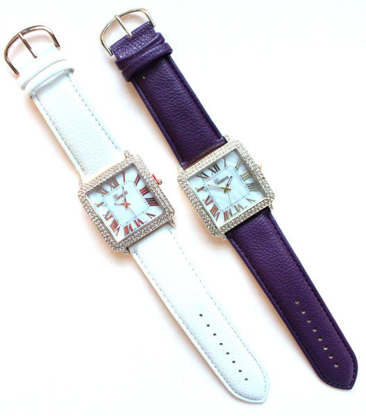 Leather Square Face Watches