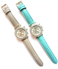 Leather Round Face Sparkle Watches- 2 Color Options