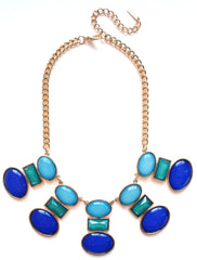 Geo Glamour Necklace- Blue