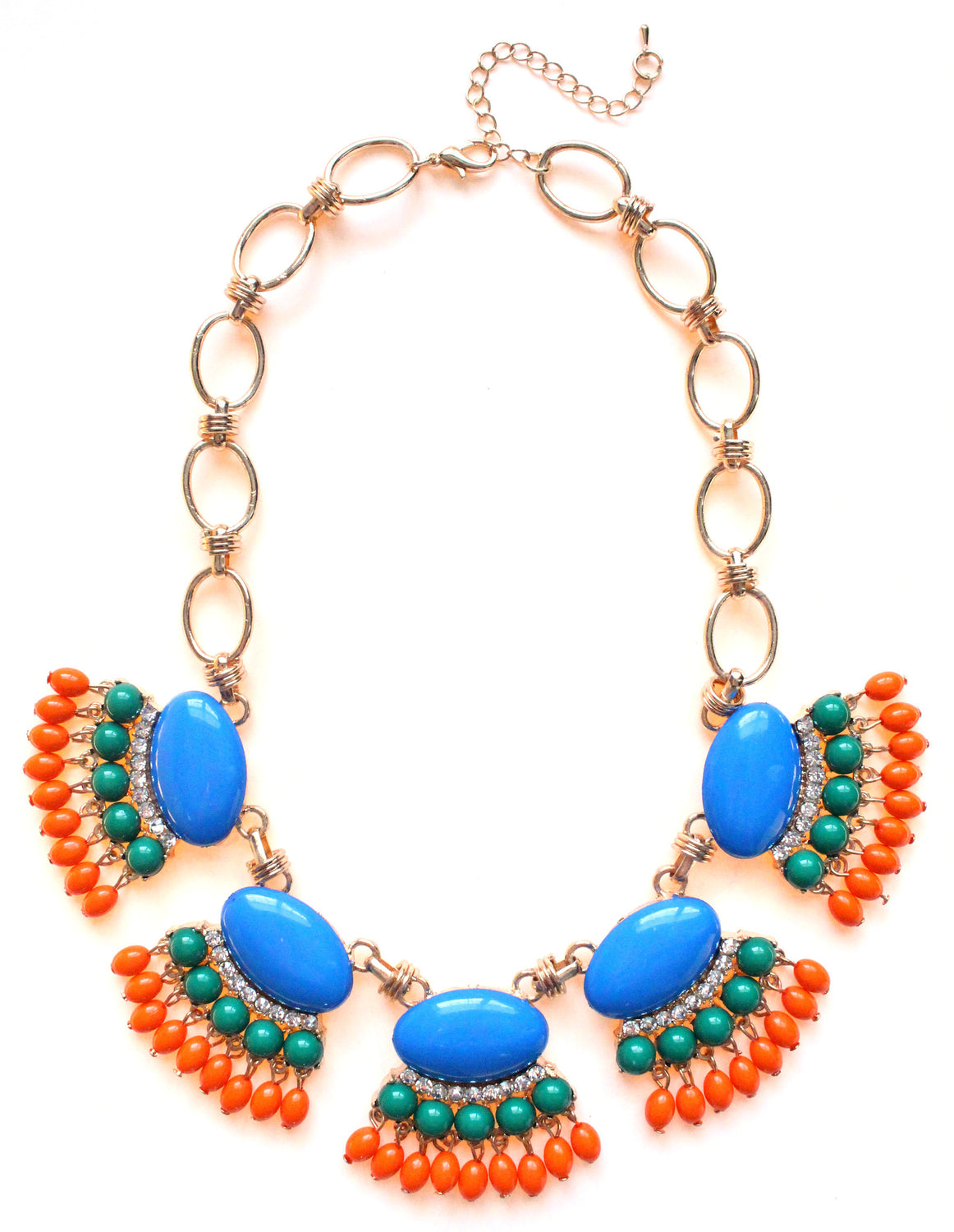 Fan Fringe Statement Necklace- Blue