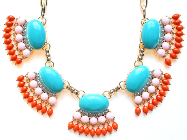 Fan Fringe Statement Necklace- Turquoise