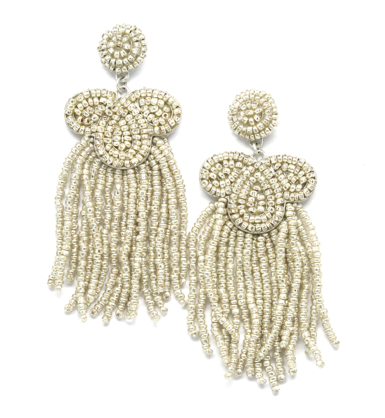 Desiree Beaded Tassel Earrings- Silver