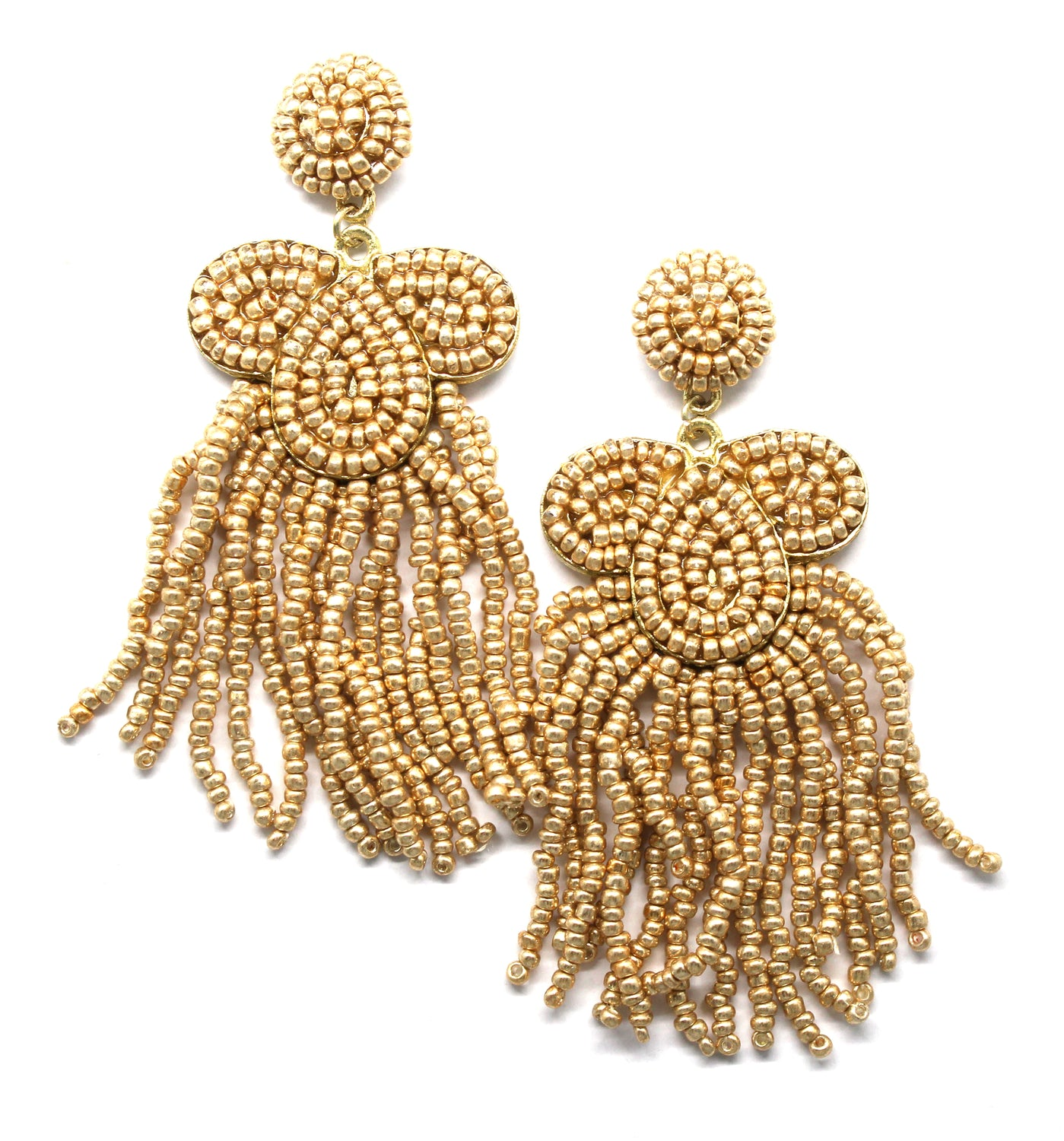 Desiree Beaded Tassel Earrings- Gold