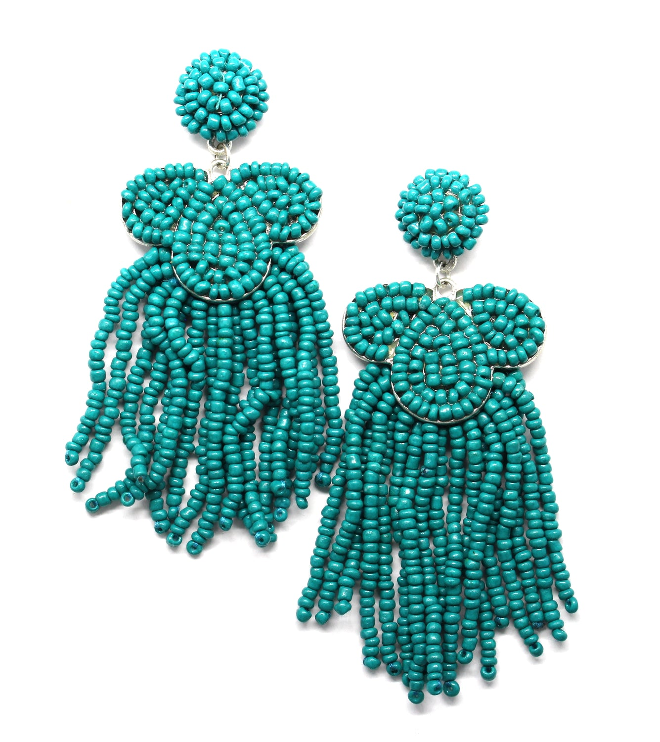 Desiree Beaded Tassel Earrings- Teal