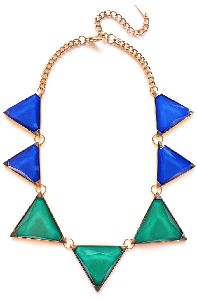 Colorblock Pyramid Jewels- Royal & Green