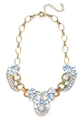 Luxe Crystal Icing Statement Necklace- Gold