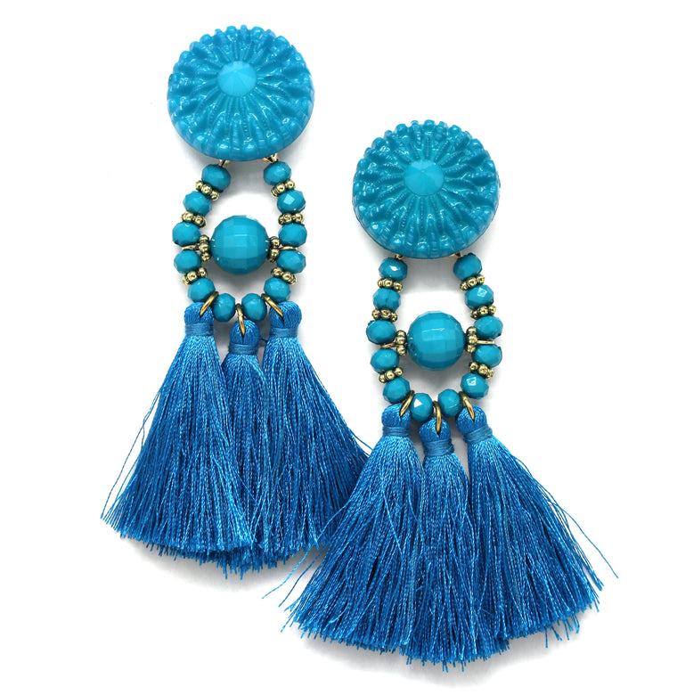 Lydia Marie Tassel Earrings- Blue