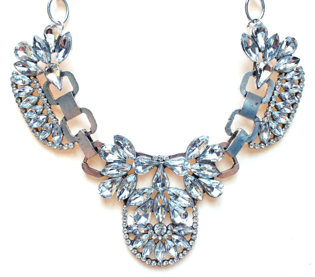 Luxe Crystal Icing Statement Necklace- Silver
