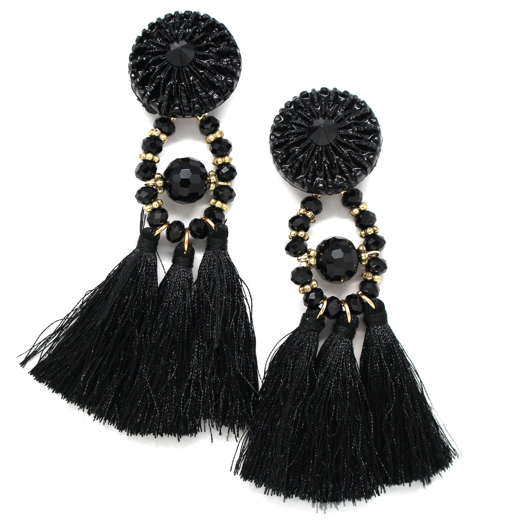 Lydia Marie Tassel Earrings- Black