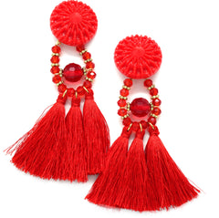 Lydia Marie Tassel Earrings- Red