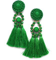 Lydia Marie Tassel Earrings- Green