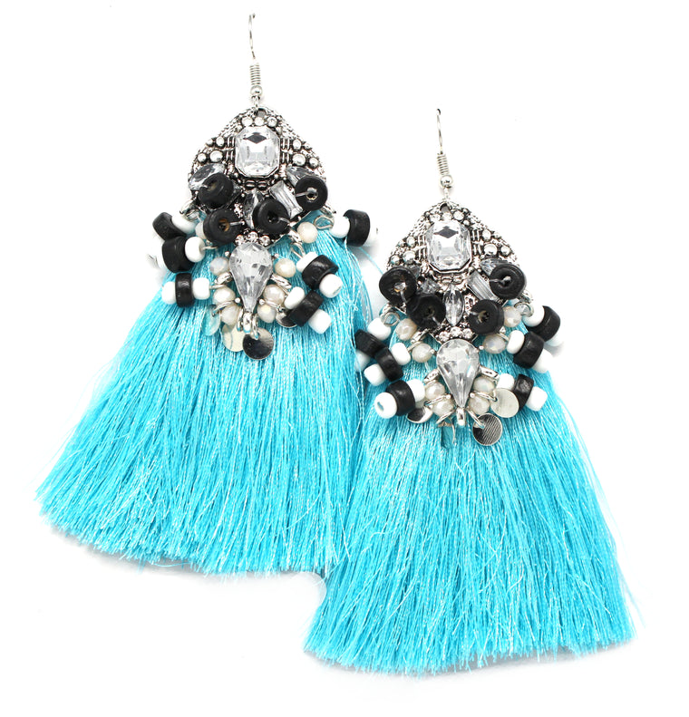 Amelia Tassel Earrings- Turquoise