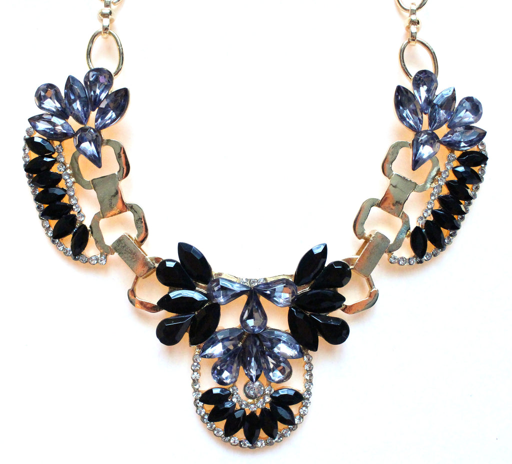 Crystal Icing Statement Necklace- Black