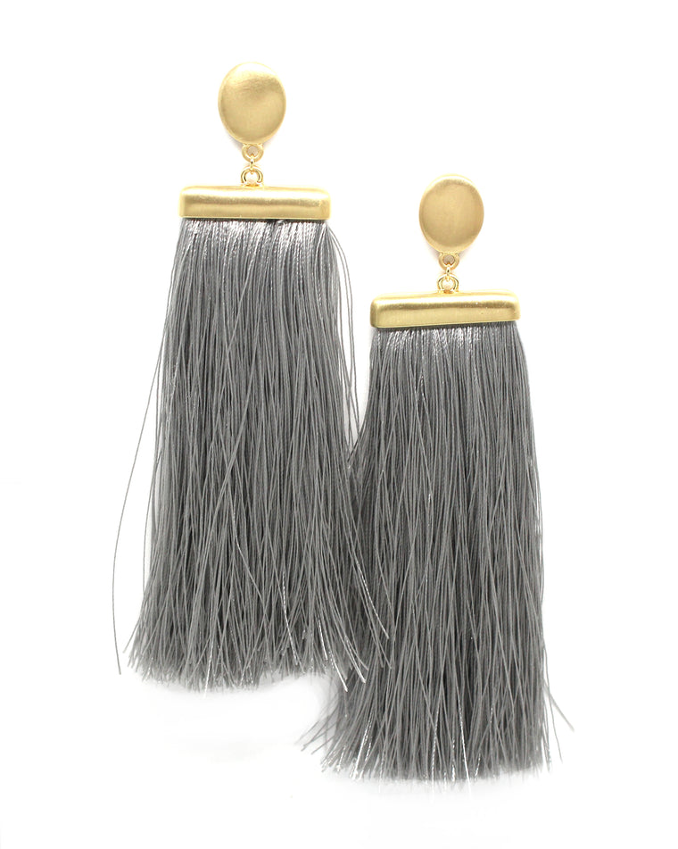 Deja Tassel Earrings- Grey