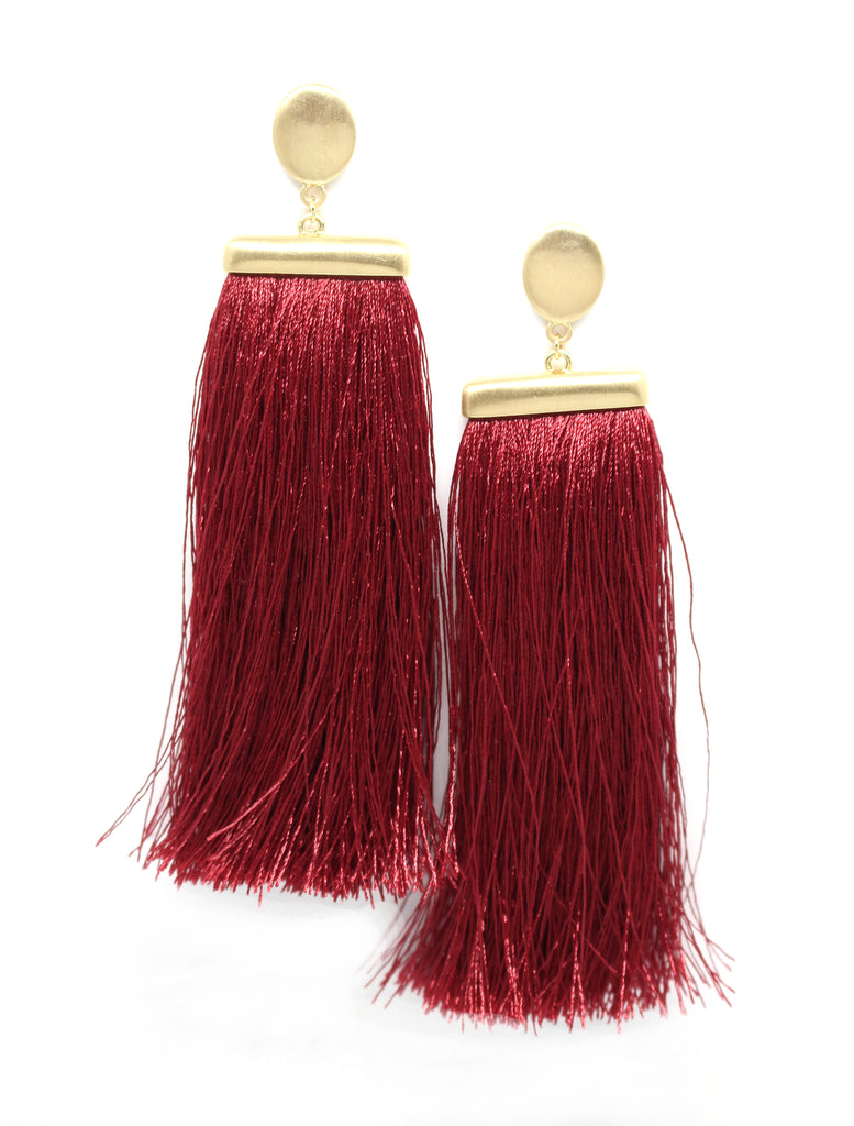 Deja Tassel Earrings- Red Wine Burgundy