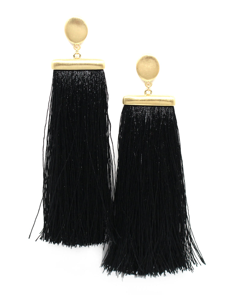 Deja Tassel Earrings- Black