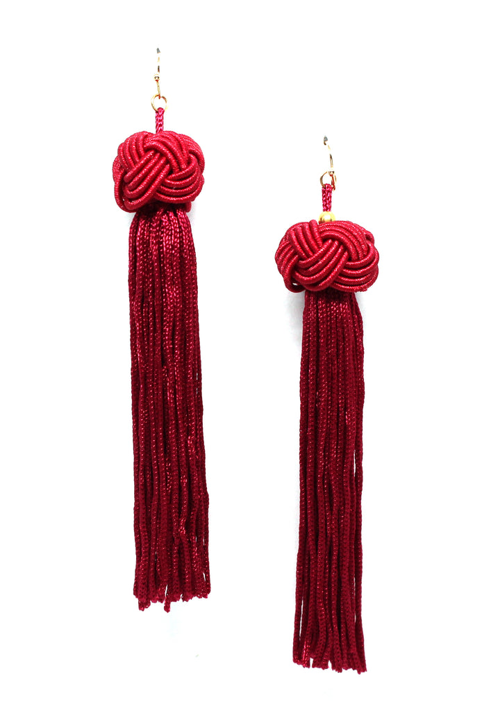 Margaret Tassel Earrings- Red Wine