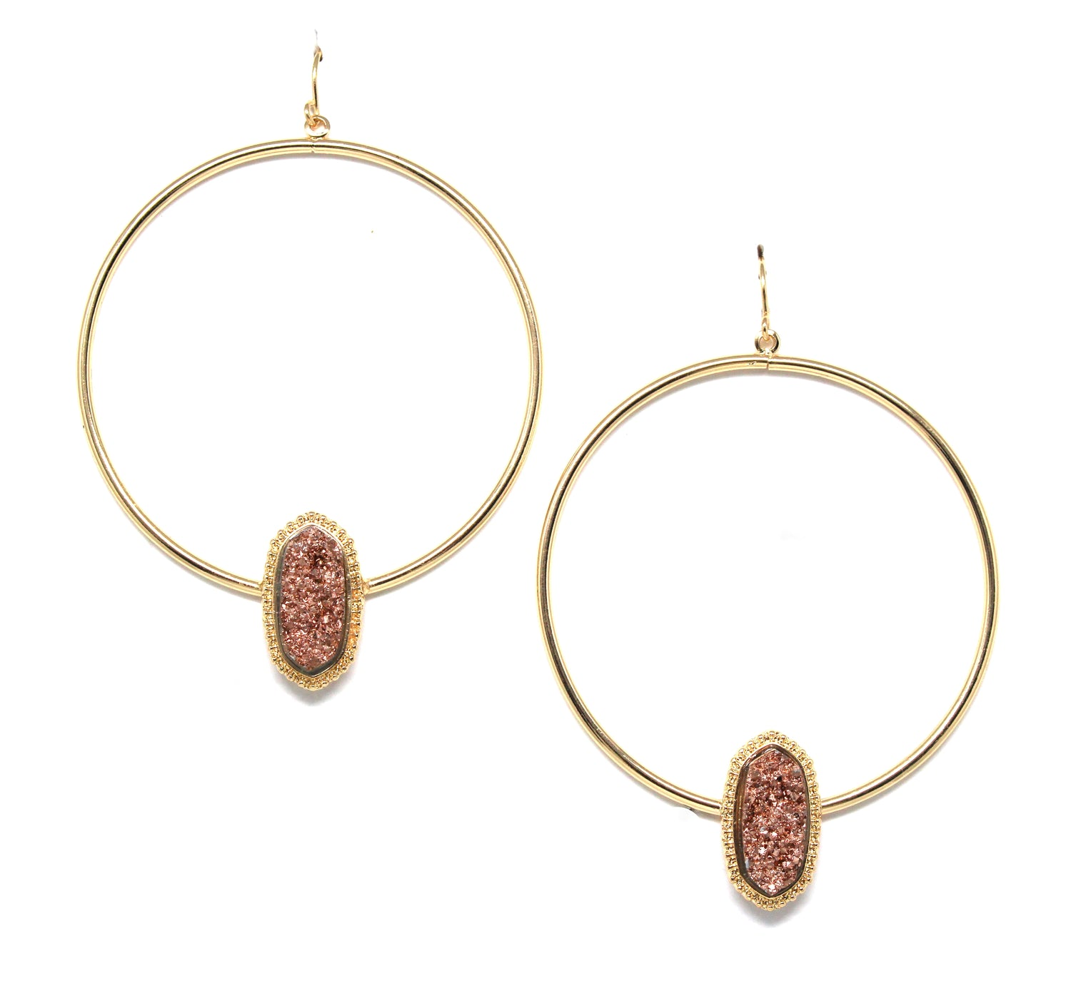 Lizzy Druzy Hoop Earrings- Gold/Rose Gold