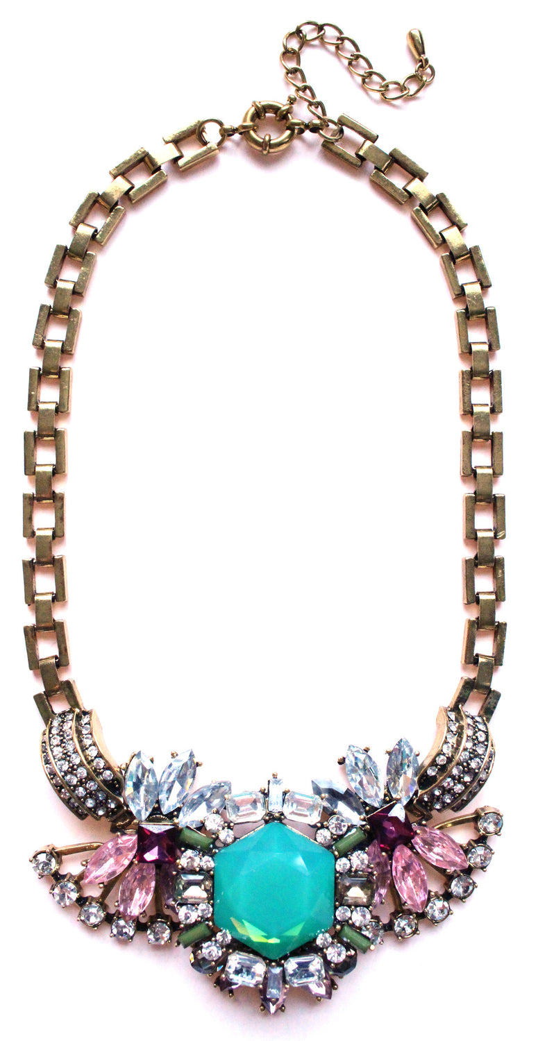 Luxe Crystal Compilation Statement Necklace- Mint & Pink