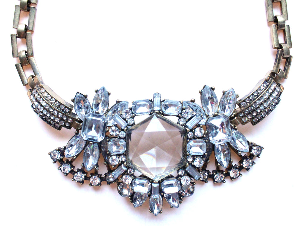 Luxe Crystal Compilation Statement Necklace- Crystal Clear