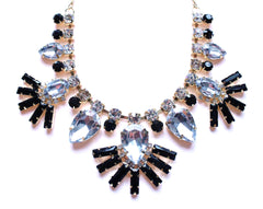 Crystal Fan Statement Necklace- Black