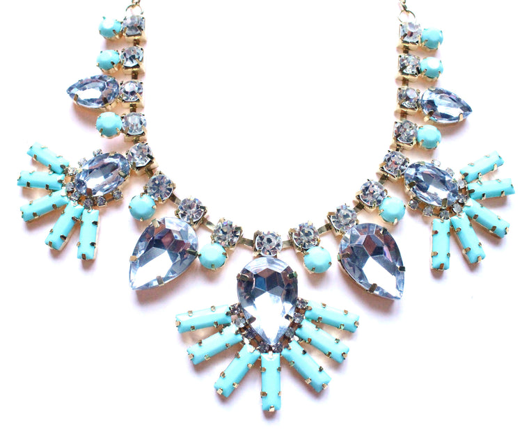 Crystal Fan Statement Necklace- Mint
